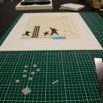 Montage d'une oeuvre de Buren sur carton Museum